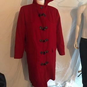 Harve Benard Red Wool Trench Coat